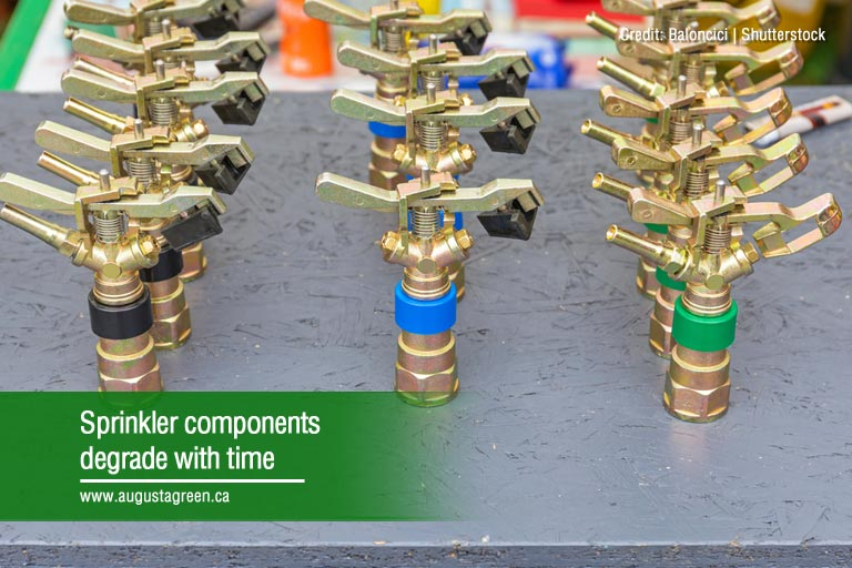 Sprinkler components degrade with time