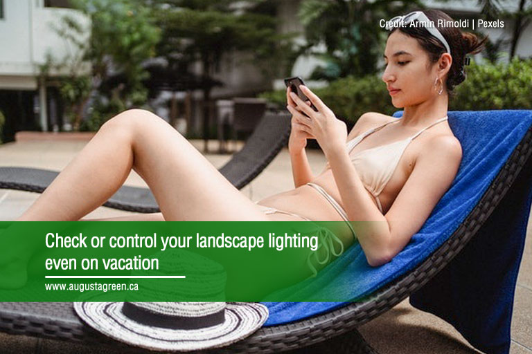 Check or control your landscape lighting even on vacation